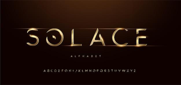 Caratteri alfabeto corsivo tipografia futuristica moderna oro sportivo