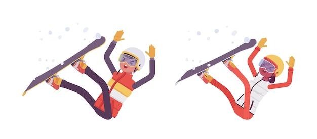 Uomo sportivo che cade in una cattiva tecnica sulla stazione sciistica