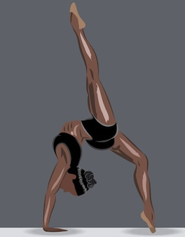 Donna abbronzata sportiva in biancheria intima sportiva facendo esercizi