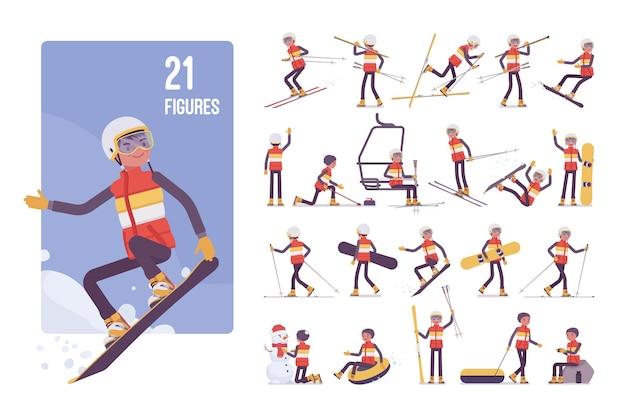 Giovane sportivo su un set di caratteri del resort invernale