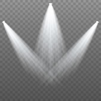 Spotlight isolato. faretti luci. luce del palco su sfondo trasparente. illuminazione della scena.