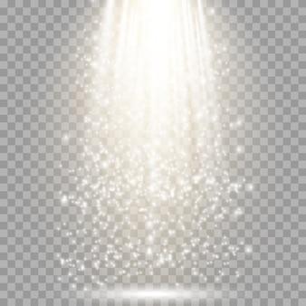 Riflettore isolato. effetto di luce incandescente vettoriale con raggi e fasci d'oro