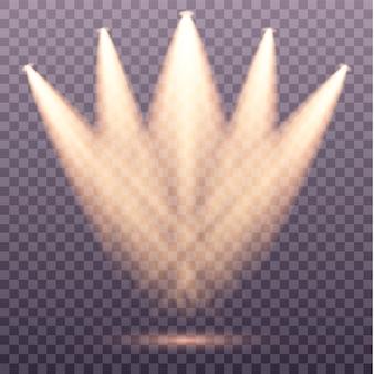 Spotlight isolato. faretti a luci gialle. luce del palco su sfondo trasparente. illuminazione della scena.
