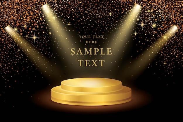 Riflettori sul palco e gold glitter vector