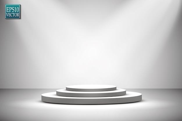 Faretti. scena. illustrazione del podio di effetti di luce