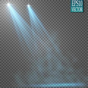Faretti. scena effetti di luce vettore. effetto luce bagliore.