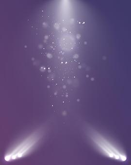 Set di faretti isolati su sfondo trasparente effetto di luce incandescente vettoriale con raggi dorati