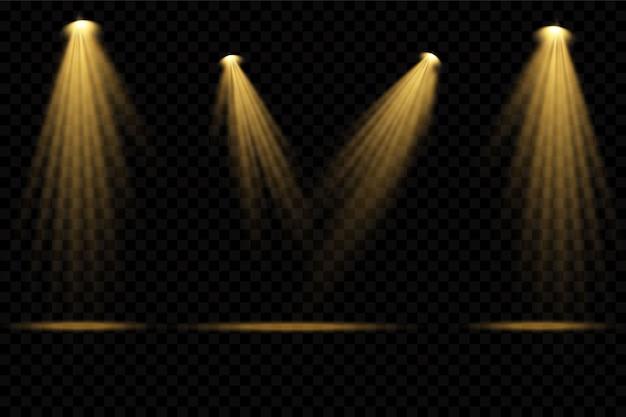Faretti gialli. scena. effetti di luce trasparente.