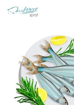 Icona di pesce schizzo spratto spratti marini isolati dell'oceano atlantico con rosmarino e limone su un piatto