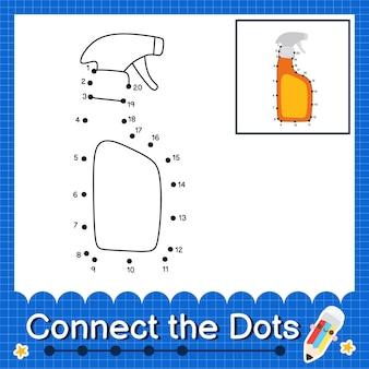 Flacone spray i bambini collegano il foglio di lavoro a punti per i bambini che contano i numeri da 1 a 20