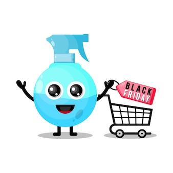 Bottiglia spray shopping venerdì nero simpatico personaggio mascotte