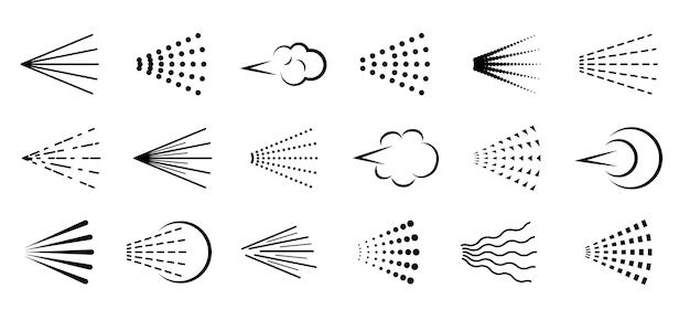 Icone di spruzzo. siluetta nera del gas di dispersione, nuvola del nebulizzatore dell'ugello. goccia di simbolo di acqua pulita, lacca per capelli, graffiti, profumo o deodorante aerosol foschia, linea di vettore di vapore spruzzatore isolata sul set bianco