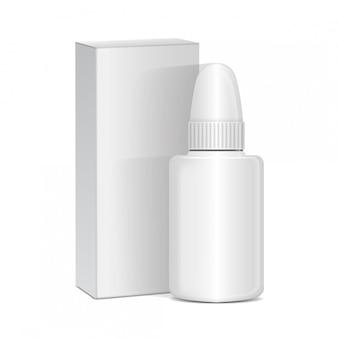 Spruzzare farmaci antisettici nasali o oculari. bottiglia di plastica bianca con scatola. freddo comune, allergie. realistico