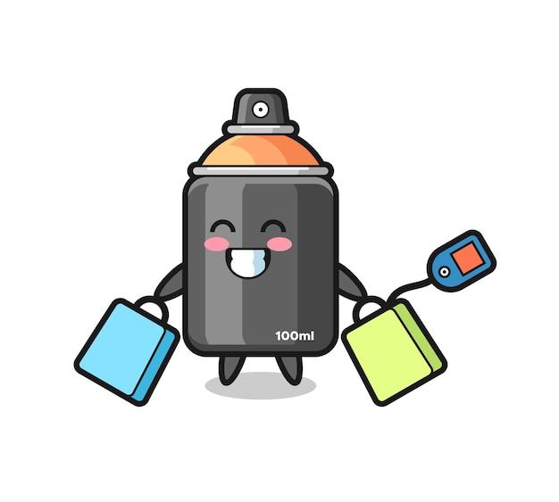 Cartone animato mascotte di vernice spray che tiene una borsa della spesa, design in stile carino per t-shirt, adesivo, elemento logo
