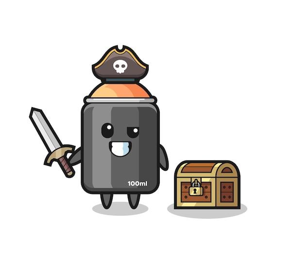 Il personaggio pirata con vernice spray che tiene la spada accanto a una scatola del tesoro, design in stile carino per maglietta, adesivo, elemento logo