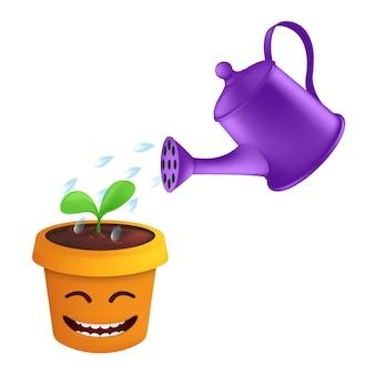 Uno spruzzo di gocce d'acqua da un annaffiatoio metallico può irrigare un germoglio verde in un vaso di fiori.