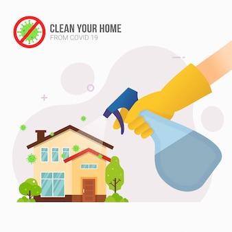 Spruzzare disinfettante a casa per la prevenzione del coronavirus