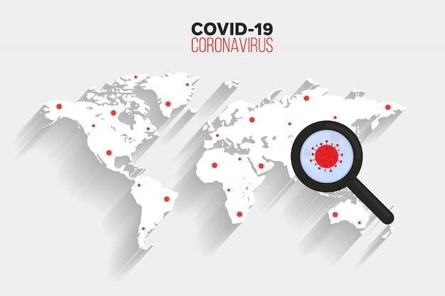 Diffusione del virus corona sullo sfondo della mappa del mondo, icona del virus di ricerca