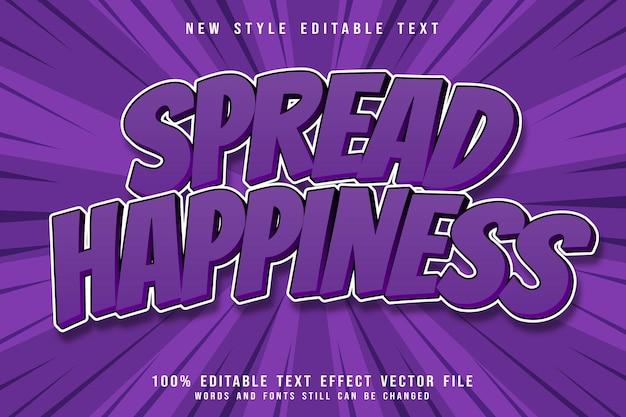 Diffondi l'effetto di testo modificabile della felicità in rilievo in stile fumetto