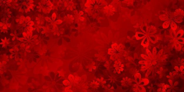 Sfondo primaverile di vari fiori nei colori rossi
