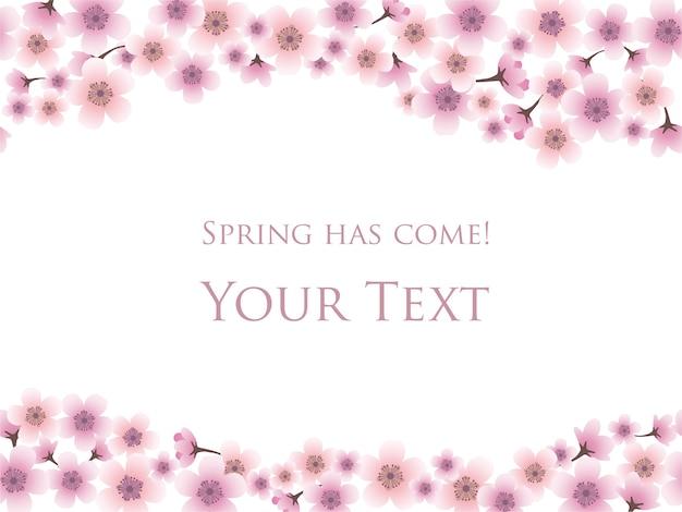 Sfondo di primavera con fiori di ciliegio in piena fioritura e modello di testo di esempio