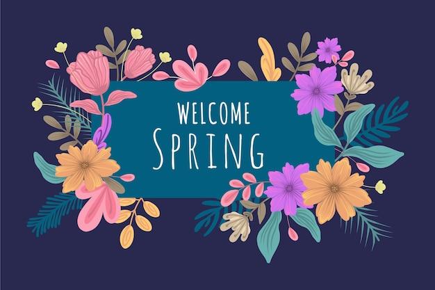 Sfondo di primavera con tema floreale