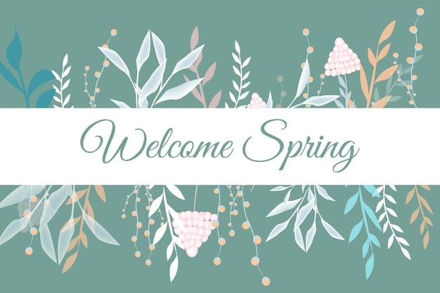 Sfondo di primavera con la grafia del testo. ciao primavera. ciao primavera! biglietto di auguri con fiori, farfalle e foglie vettoriale. ciao illustrazione di primavera.