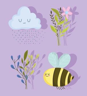 Fiori di primavera ape, nuvole, gocce di pioggia e set di rami