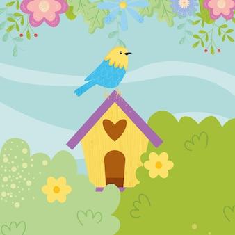 Primavera uccello sul design birdshouse, stagione ornamento floreale naturale giardino e illustrazione tema decorazione