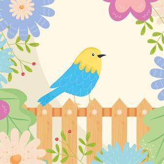 Uccello di primavera sul recinto con fiori design, stagione ornamento floreale naturale giardino e illustrazione a tema decorazione