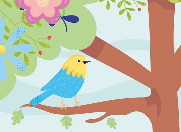 Uccello della primavera sul disegno dell'albero, illustrazione di tema del giardino e della decorazione dell'ornamento floreale naturale di stagione