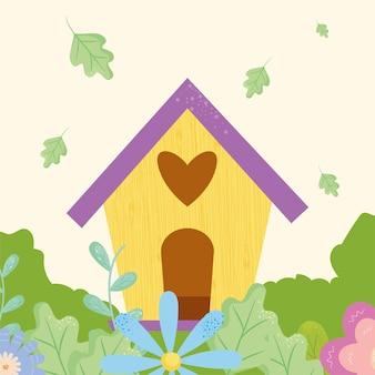 Birdshouse di primavera con fiori design, stagione ornamento floreale naturale giardino e illustrazione a tema decorazione
