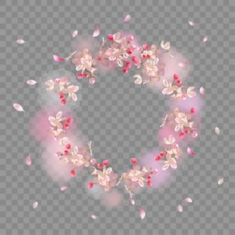 Sfondo di fiori di primavera. cornice trasparente dell'acquerello con fiori di ciliegio e petali volanti