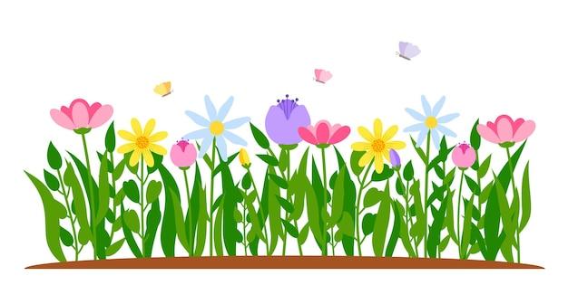 Fiori di confine primaverili con farfalla in stile cartone animato piatto.