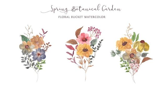 Collezione di acquerelli di bouquet floreale giardino botanico primaverile
