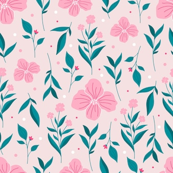Modello senza cuciture botanico di primavera con fiori rosa