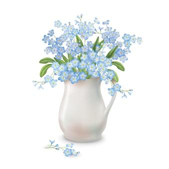 Bouquet primaverile in brocca in ceramica