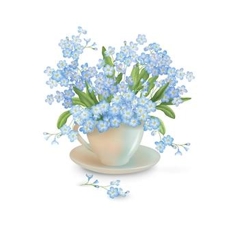 Bouquet di fiori primaverili in tazza da tè