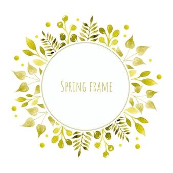 Ghirlanda di cornice dell'acquerello di rami di primavera