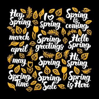 Progettazione di calligrafia di primavera. illustrazione vettoriale della calligrafia della natura sul nero.