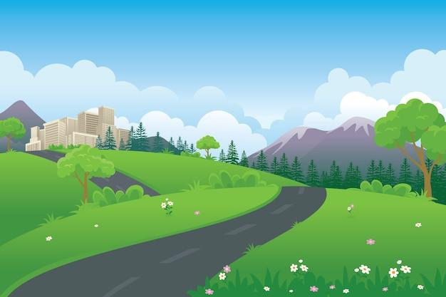 Illustrazione di paesaggio del fumetto di primavera con prato verde, strada, montagna e costruzione della città
