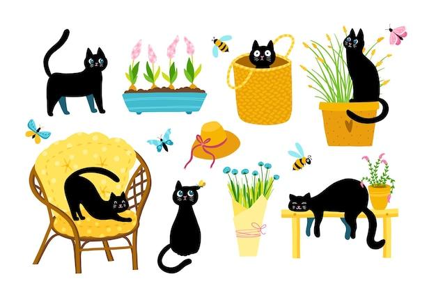Set gatto di primavera. una vasta collezione di personaggi dei cartoni animati in varie pose in un semplice stile infantile disegnato a mano.