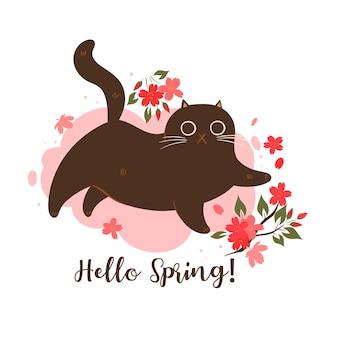 Gatto di primavera con fiori di ciliegio su sfondo bianco. iscrizione ciao primavera.