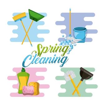 Strumenti per la pulizia delle pulizie di primavera per la pulizia e la disinfezione