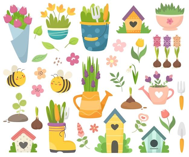 Collezione primaverile con simpatiche api, fiori, annaffiatoi, nicchie. elementi di cartone animato piatto disegnato a mano.