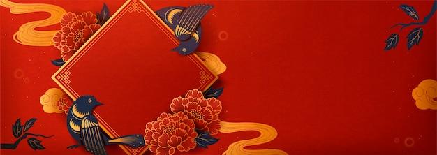 Distico primaverile con decorazioni di uccelli e peonia, banner anno lunare in stile arte carta