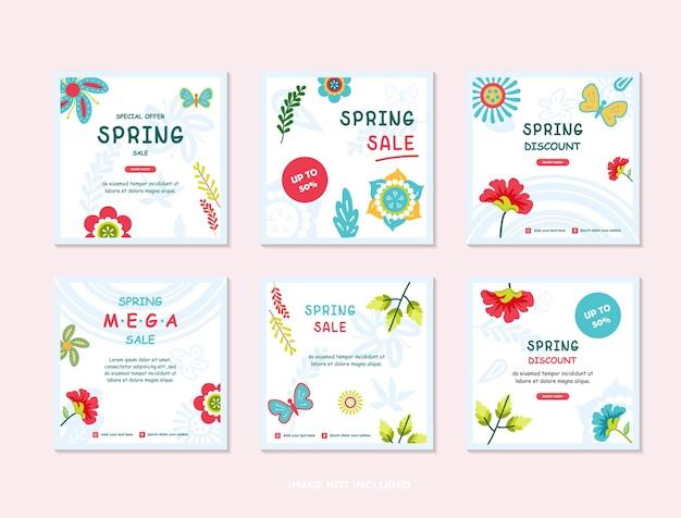 Modelli di copertina primaverile storie di social media sfondi con foglie e fiori primaverili