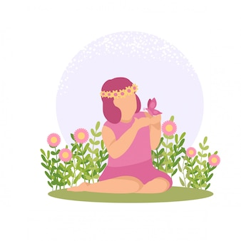 Primavera ragazza carina bambino che gioca fiore e farfalla