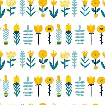 Patern senza cuciture di scarabocchio della primavera con i fiori svegli del fumetto in una tavolozza variopinta. illustrazione infantile in stile scandinavo disegnato a mano.