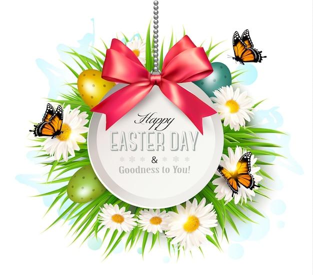 Priorità bassa di pasqua di primavera. uova di pasqua in erba con fiori. vettore.